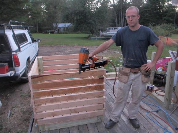 2012 Sept 17 Caleb built a couple potato bins